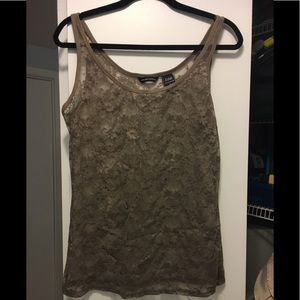 New York & Co beige lace tank top L.